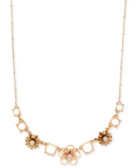 Lonna And Lilly Gold Tone Crystal Flower Necklace White