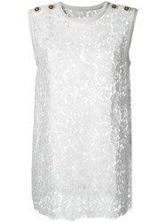 Dolce And Gabbana Floral Lace Tank Top White