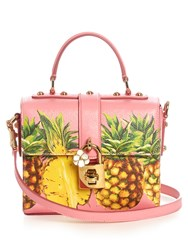 Dolce And Gabbana Box Pineapple Print Leather Bag Pink Multi