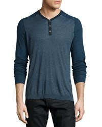 John Varvatos Star Usa Raglan Sleeve Knit Henley Shirt Blue