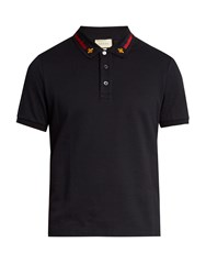 Gucci Web Striped Collar Cotton Blend Pique Polo Shirt Navy