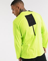 Religion Long Sleeve Logo T Shirt With Back Patch In Neon Yellow