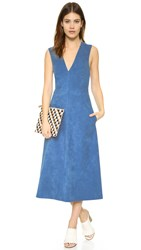 Tibi Faux Suede Overall Dress Danube Blue
