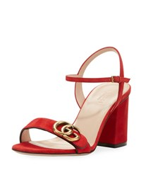 Gucci Marmont Suede Block Heel Sandal Red
