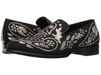 Alexander Mcqueen Embroidered Slip On Black Light Gold