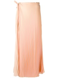 Haider Ackermann Pleated Long Skirt Women Polyester 40 Pink Purple