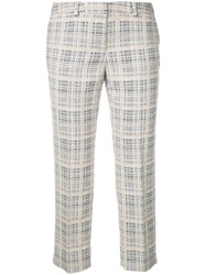 Incotex Cropped Checked Trousers Beige