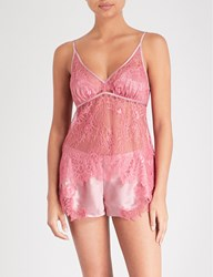Nk Imode Happy Hour Lace And Silk Satin Camisole Rosewood