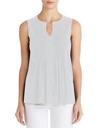 Jones New York Pleated Tank White
