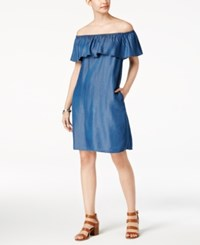Style And Co Petite Off The Shoulder Denim Dress Created For Macy's Medium Rinse Wa