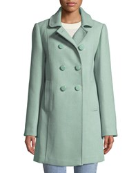 Kate Spade Wool Twill Double Breasted Coat Green