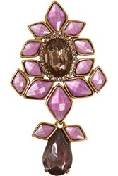 Oscar De La Renta Gold Tone Crystal Necklace Purple