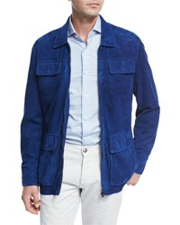 Isaia Perforated Suede Safari Jacket Blue