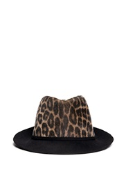 Stella Mccartney Leopard Print Faux Fur Felt Fedora Hat Animal Print