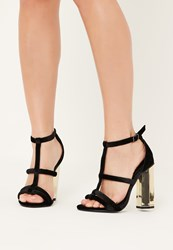 Missguided Black Velvet Metal Block Heeled Sandals