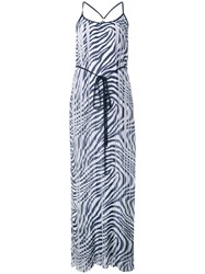 Michael Michael Kors Zebra Print Pleated Maxi Dress Blue