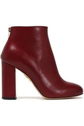Charlotte Olympia Leather Ankle Boots Merlot