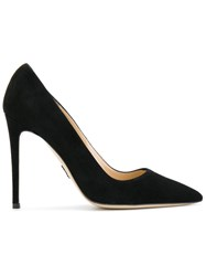 Paul Andrew Pointed Toe Pumps Leather Suede Black