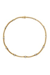 Meshmerise 18K Gold Vermeil And Sterling Silver Diamond Station Braided Mesh Necklace 0.65 Ctw Metallic
