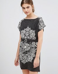 Jasmine Paisley Print Dress With Belted Waist Dark Grey