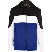 River Island Mensblue Zip Color Block Hoodie