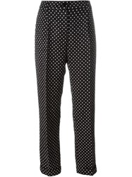 Dolce And Gabbana Polka Dot Brocade Trousers Black