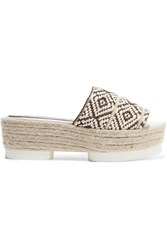 Paloma Barcelo Azteca Woven Canvas Platform Sandals Brown