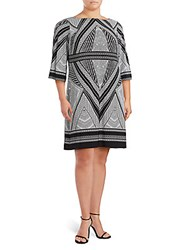 Calvin Klein Printed Boatneck Dress Black