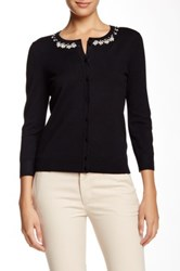 Cable And Gauge Pearl Neckline Cardigan Black
