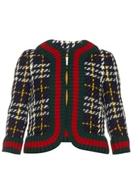 Gucci Collarless Tweed Jacket Navy Multi