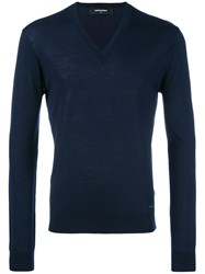 Dsquared2 V Neck Jumper Blue