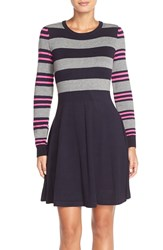 Eliza J Stripe Sweater Fit And Flare Dress Regular And Petite Pink Navy