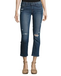 Paige Miki Cropped Straight Leg Jeans Colton Destructed Indigo