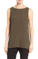 Eileen Fisher Women's Long Bateau Neck Silk Shell Surplus
