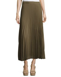 Max Studio Accordion Pleated Maxi Skirt Olive