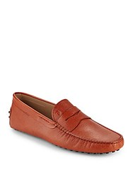 Tod's Textured Leather Moccasins Orange