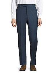 Saks Fifth Avenue Flat Front Wool Pants New Navy