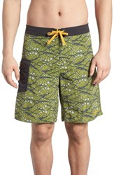 Patagonia Wavefarer Board Shorts Hexy Fish Sprouted Green