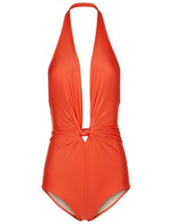 Adriana Degreas Coral Halterneck Knot Front Swimsuit Red