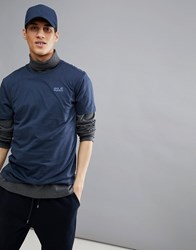 Jack Wolfskin Essential T Shirt In Navy Night Blue