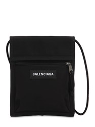 Balenciaga Logo Explorer Nylon Crossbody Bag Black
