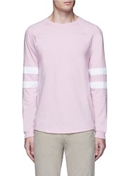 Topman Stripe Long Raglan Sleeve T Shirt Pink