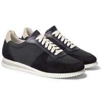 Brunello Cucinelli Nubuck And Leather Trimmed Canvas Sneakers Navy