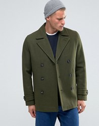 Asos Wool Mix Peacoat In Khaki Khaki Green