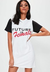 Missguided White Oversized Future Is Female T Shirt Dress