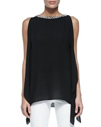 Michael Kors Embellished Boat Neck Tunic Black