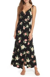 Soprano Faux Wrap Maxi Dress Black Coral
