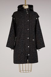 Proenza Schouler Leopard Printed Coat With Removable Sleeves 21044 Charcoal Black Leopard Print