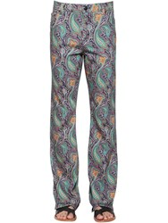 Etro Flared Paisley Printed Denim Jeans Blue