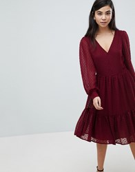 Soaked In Luxury Textured Dot Tiered Dress